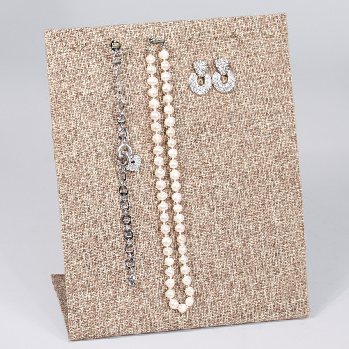 "Multi Function Display Stand, Burlap,  8"" x 4"" x 9""H, (Jewelry Pin Not Include)"