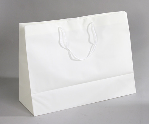"CLOSEOUT-Off White Frosted Plastic Tote,16"" x 6""x 12""H"