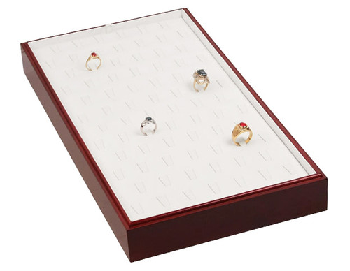 """Stackable 78 Ring Tray - Rosewood with White Leather,18"""" x 9 1/2"""" x 1 7/8""""H"""