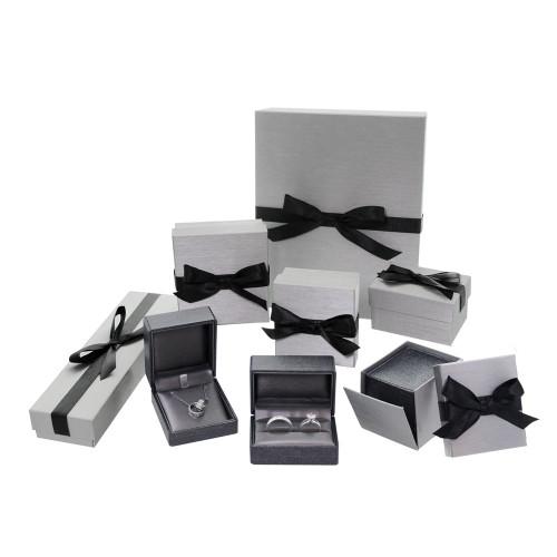 """Premium Ribbon Ring box-Grey 2 1/8"""" x 2 1/2"""" x 2""""H"""