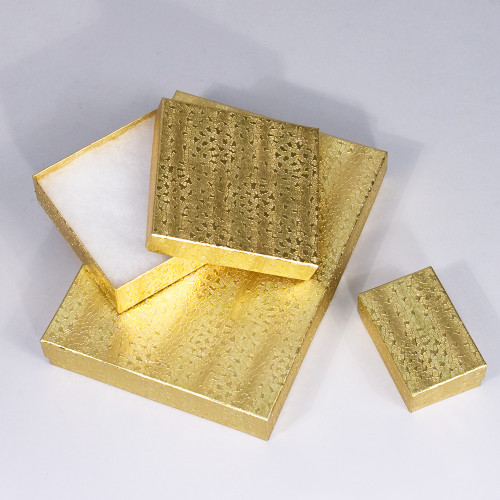 Gold Cotton Filled Boxes (Choose from various sizes), price for 100 pcs