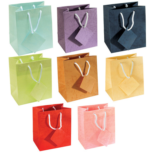 "8"" x 5"" x 10""H Assorted Pastel Gift Bags,Assorted 8 Color, Price for 100 Pieces"