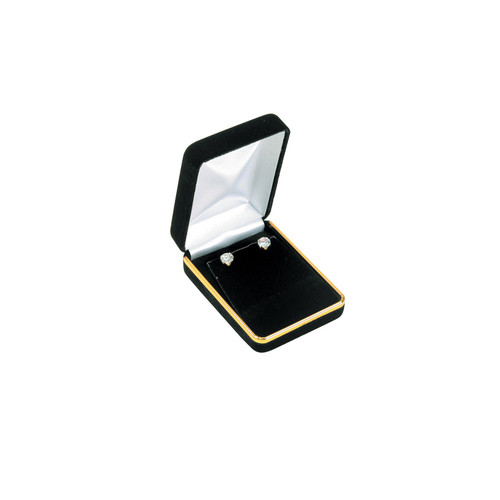 "Velvet Pendant Earring Box with Gold Trim, 2 1/4"" x 3"" x 1 1/4""