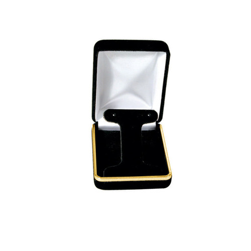 "Velvet Earring Box with Gold Trim, 2 1/4"" x 3"" x 1 1/4""