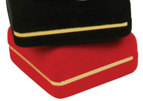 "Velvet Ring Box with Gold Trim, 1 7/8"" x 2 1/8"" x 1 1/2""