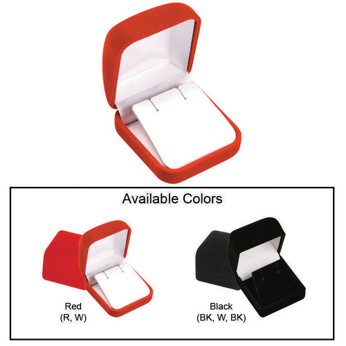 "Soft Flocked Velour Earring Box, 2"" x 2 1/4"" x 1 3/8"", Choose from various Color"