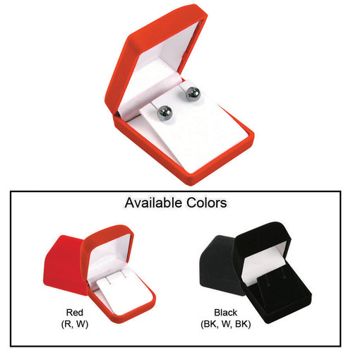 """Soft Flocked Velour Pendant/Earring Box, 2 3/8"""" x 3"""" x 1 1/8"""", Choose from various Color"""
