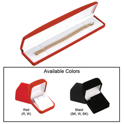 "Soft Flocked Velour Bracelet/Watch Box, 8 1/2"" x 2"" x 1"", Choose from various Color"