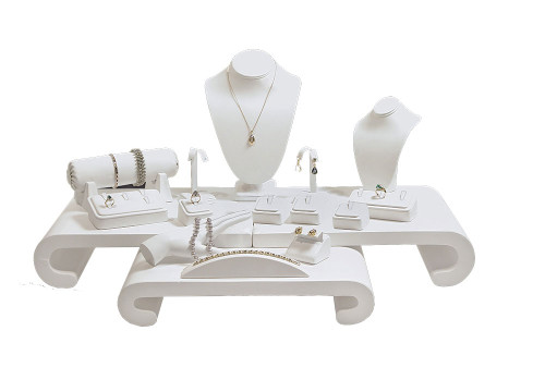 "17-Pieces White Faux Leather Jewelry Display Set , 30 1/4"" x 22"" x 15 1/4""H"