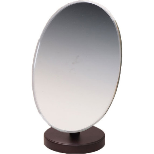Oval Dark Walnut Wood Countertop Mirror