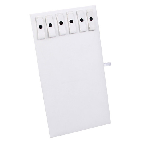 White Faux Leather Necklace Display Pad with 6 Snaps