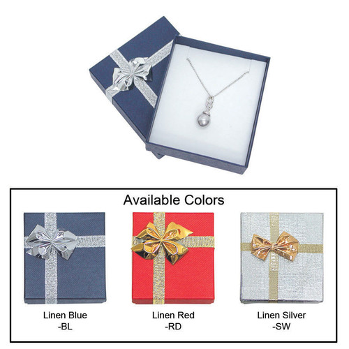 "Linen bow tie pendant/earring box , 2 3/4"" x 3 1/8"" x 1"" , Choose from various Color"