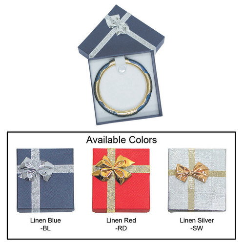 """Linen bow tie bangle box , 3 3/8"""" x 3 3/8"""" x 1 3/8"""" , Choose from various Color"""