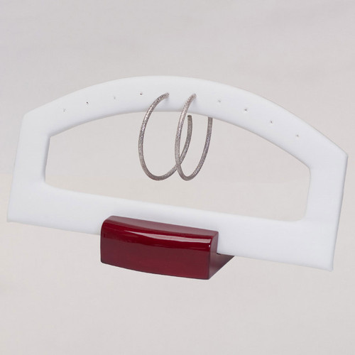 Multi-Pair Earring Stand with White Faux Leather and Wood Trim (DWE3-RW)