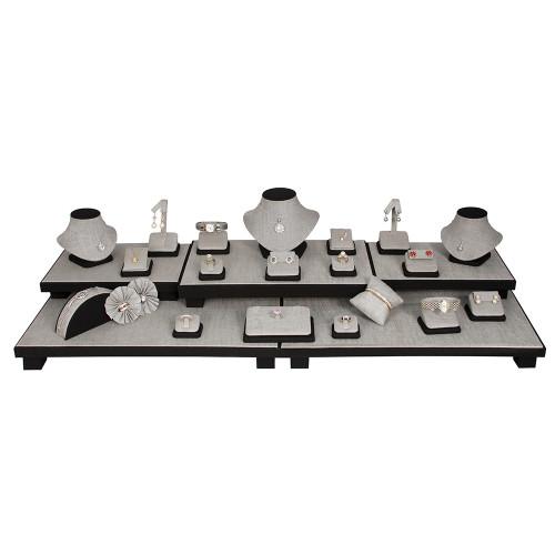 "Display set (gray linen,black trim),26pcs, 40.25x16x9.75""H"
