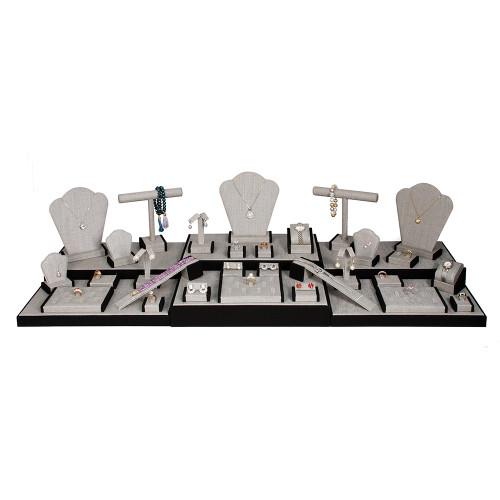 "Display set (gray linen,black trim),35pcs, 44.25x16.5x10.75""H"