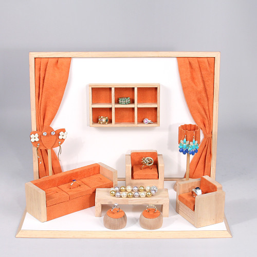 "Display set (orange suede,wood trim),10pcs,16.5x10.25x12""H"