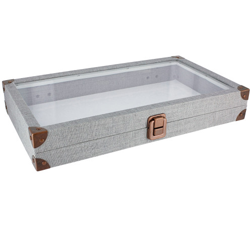 """Antique look case w/ glass top -linen,14.75x8.25x2.1""""H,14.75"""" x 8.25"""" x 1.5""""H, (Choose from various Color)"""