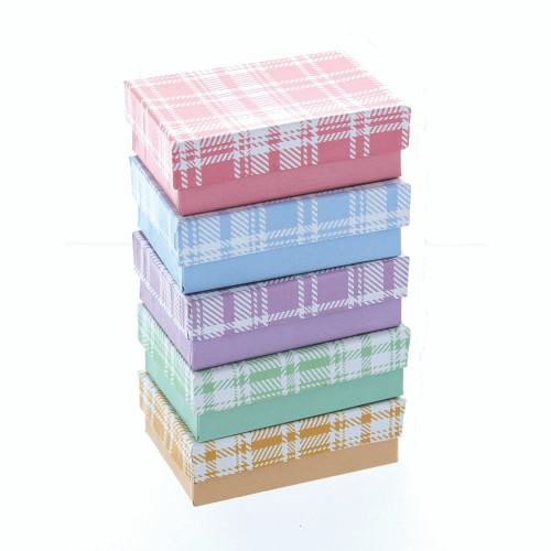 Cotton Filled Box, Assorted Plaid, 5 mix color (Choose from various sizes), price for 100 pcs