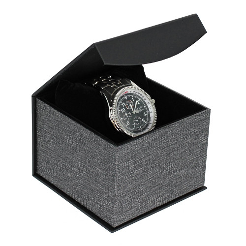 "Metalic Mesh Grey Magnetic Watch (pillow) Box,4"" x 4 1/8"" x 3""H"