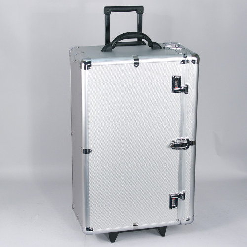"Tall Aluminum case side-open w/handle (for24 tray), 16 3/8"" x 10 1/2"" x 28 1/2""H"