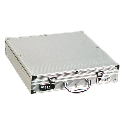 "Large Aluminum attache case, 15 1/4"" x 15 1/4"" x 3 1/4""H"