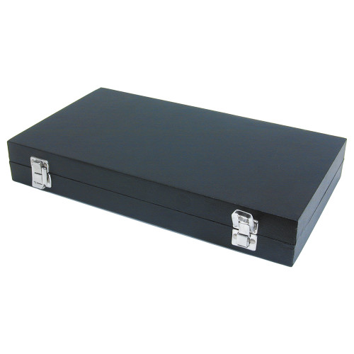 Leatherette Case,Black, Double Clasp Lid Case