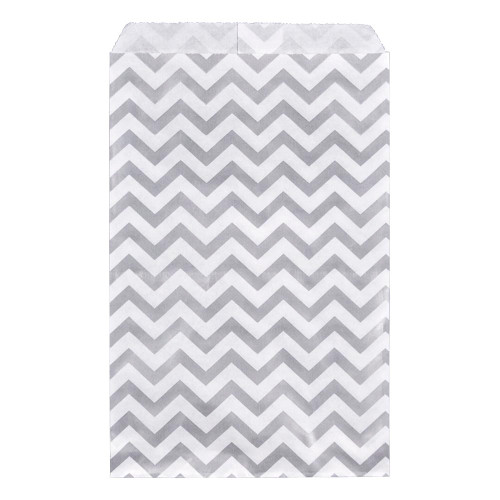 Paper gift bag , Chevron, Silver,(Choose from various sizes),Price for 100 Pieces.