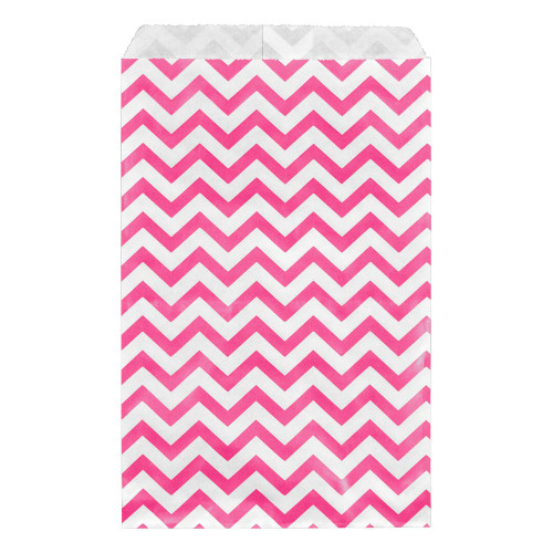 Paper gift bag , Chevron, Pink,(Choose from various sizes),Price for 100 Pieces.