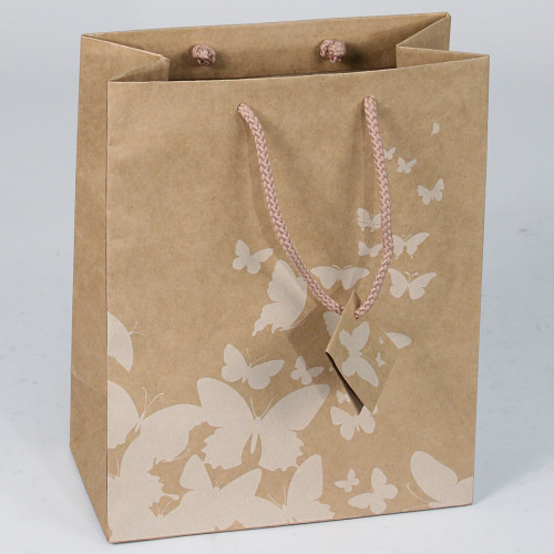 Tote Gift Bag, White Butterfly, (Choose from various sizes),Price for 20 pieces