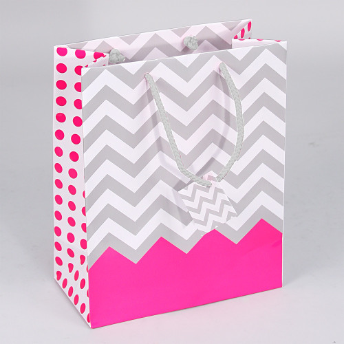 Tote Gift Bag , Pink Polka Dot-Chevron Glossy, (Choose from various sizes),Price for 20 pieces