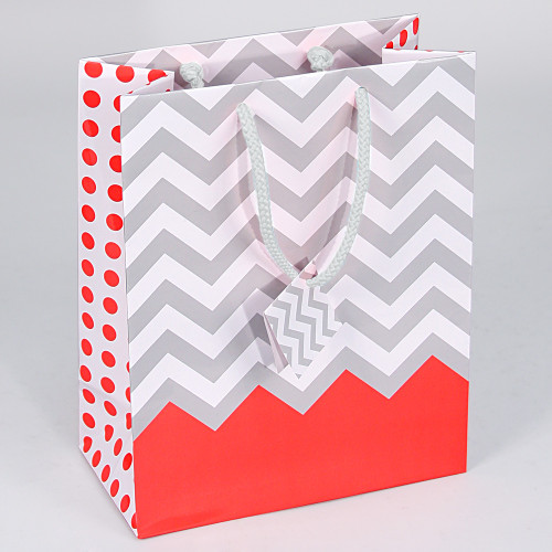 Tote Gift Bag , Coral Polka Dot-Chevron Glossy, (Choose from various sizes),Price for 20 pieces