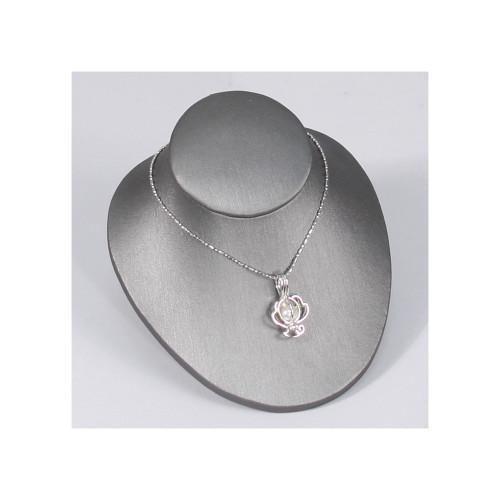 "Necklace display,4 1/4"" x 4 3/4"" x 3 1/2""H,Steel Grey"