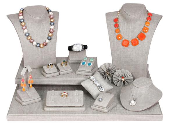 The Latest: Grey Linen Jewelry Displays
