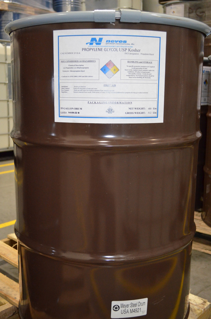 USP Kosher Propylene Glycol ($1.24/lb for 55 gallon STEEL drum 480# net)