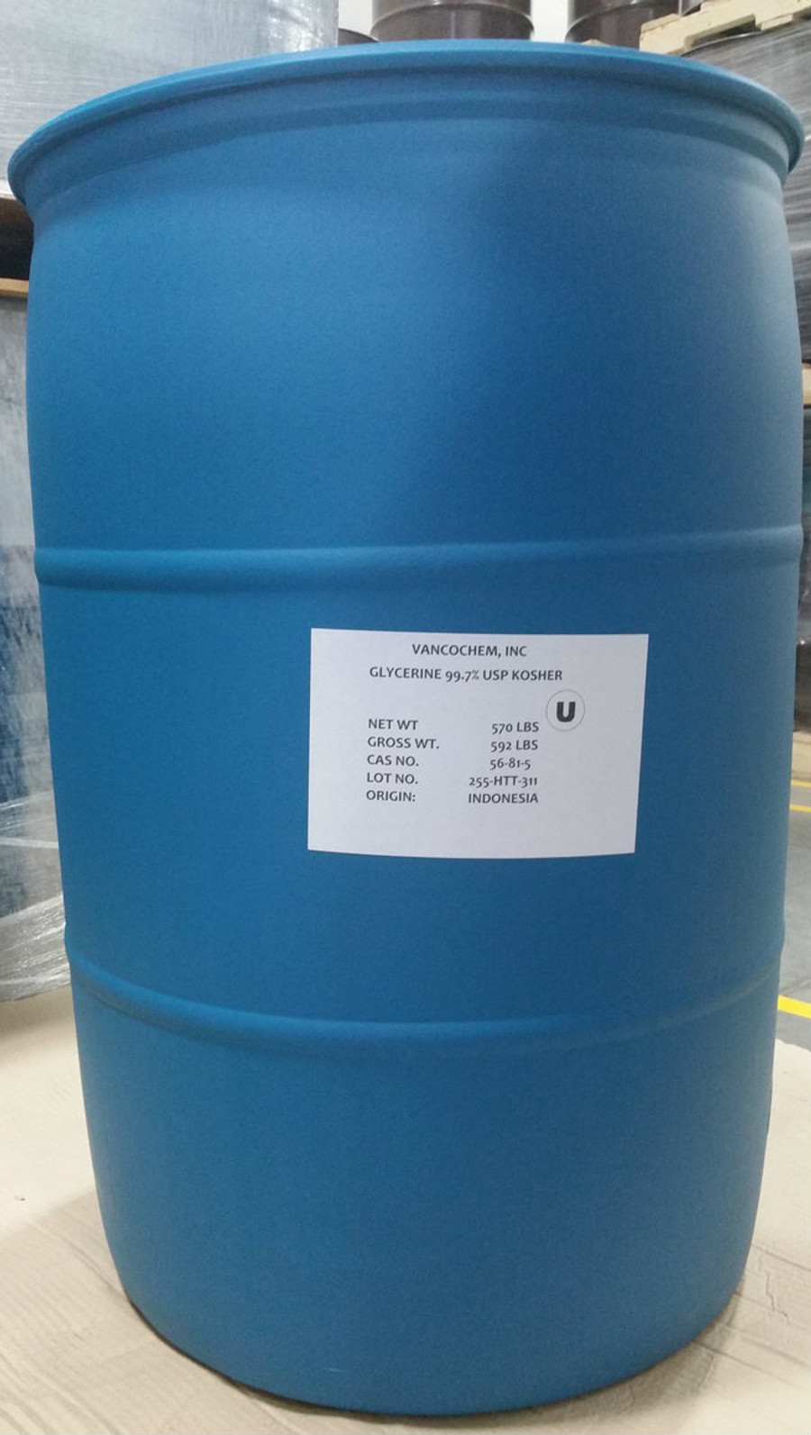 99.7% USP Kosher NonGMO Palm Glycerin ($0.88/lb 55 gallons 570# net in POLY drum) ISO cGMP