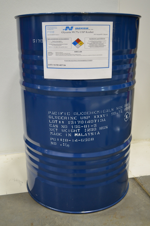 99.7% USP Kosher NonGMO Palm Glycerin ($0.86/lb for 8-55 gallon 551# net STEEL drums) ISO cGMP