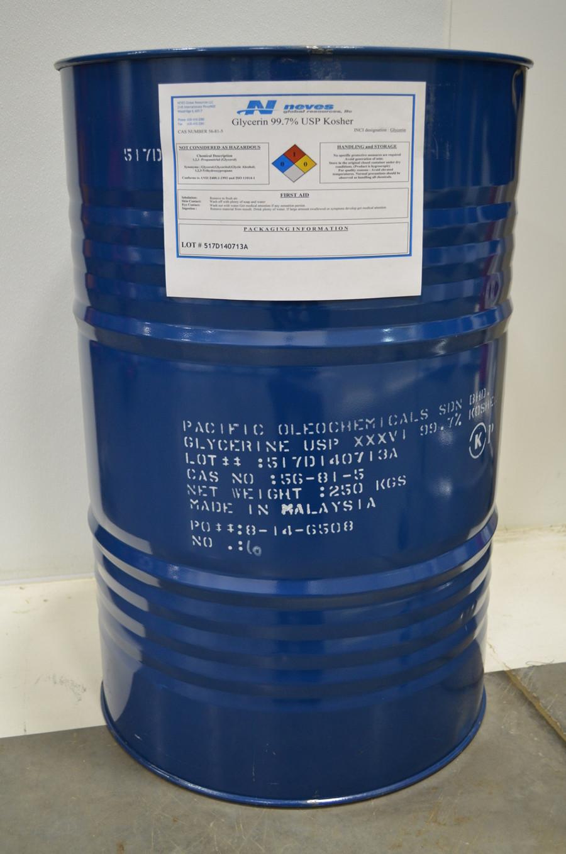 99.7% USP Kosher NonGMO Palm Glycerin ($0.88/lb 55 gallons 551# net in STEEL drum) ISO cGMP