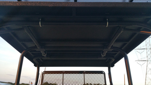 Under-side view of the Mule Trans metal roof sub-framing and anchor points