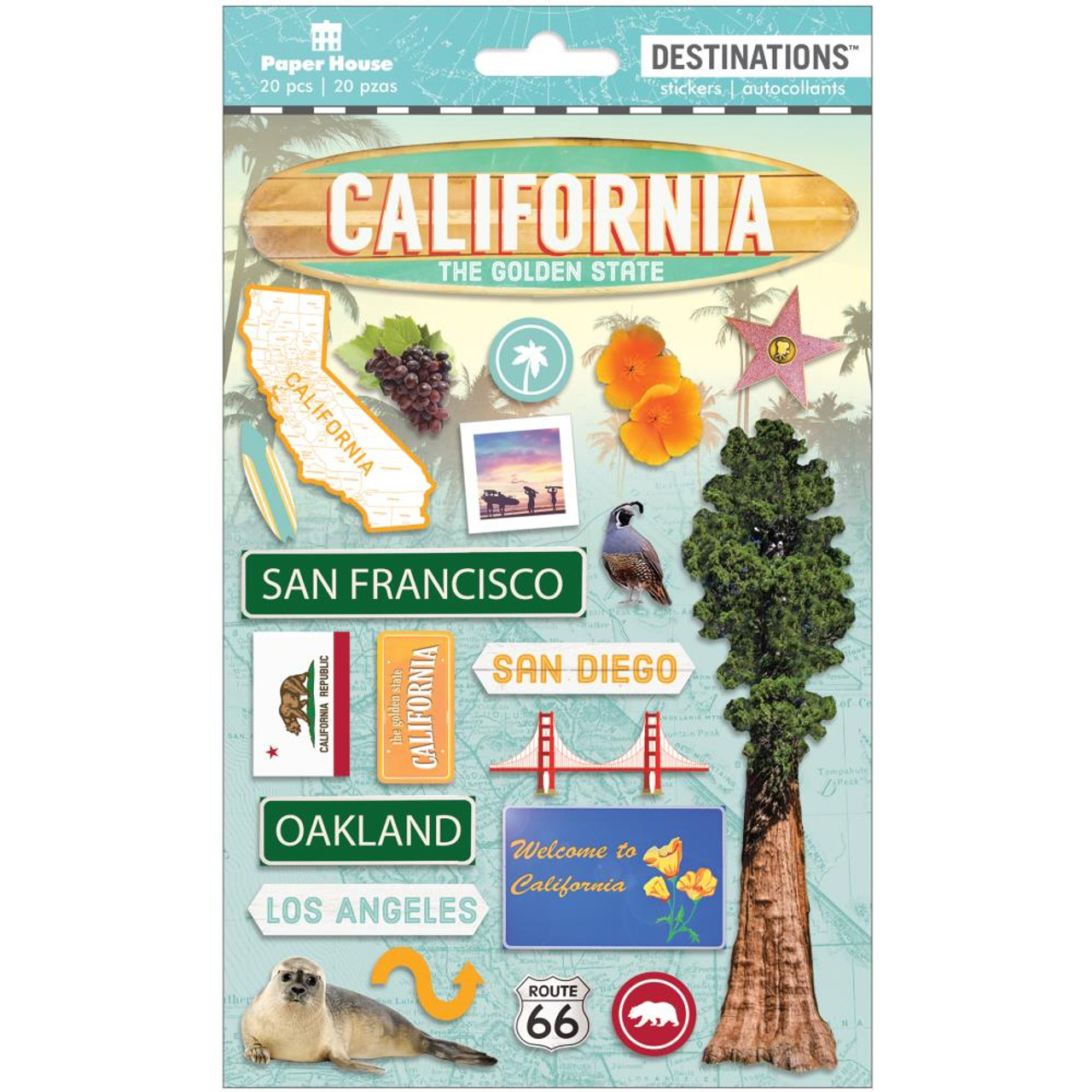 Paper House Productions Destinations Stickers Travel California