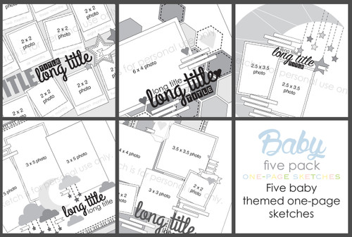 5 Pack February 2018 Baby Themed One Page Layouts Scrapbook