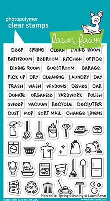 Lawn Fawn Clear Stamp: Plan On It - Spring Cleaning