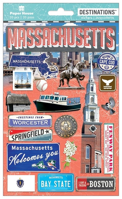 Paper House Productions Destinations Stickers: Massachusetts