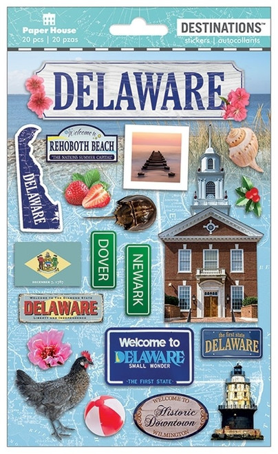 Paper House Productions Destinations Stickers: Delaware