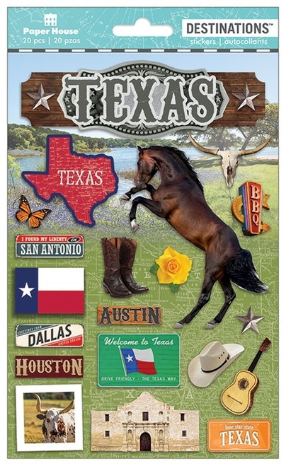Paper House Productions Destinations Stickers: Texas