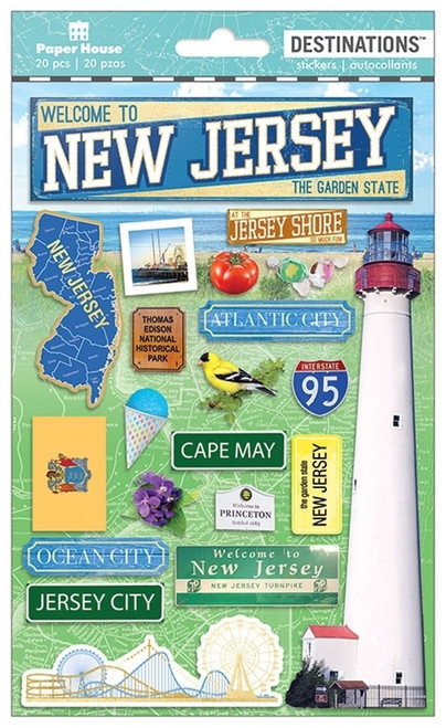 Paper House Productions Destinations Stickers: New Jersey