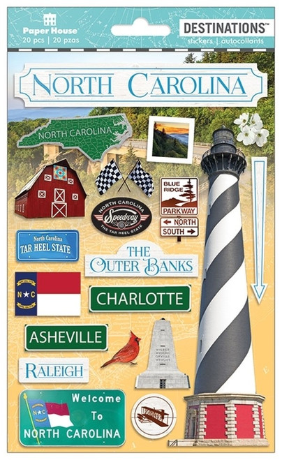 Paper House Productions Destinations Stickers: North Carolina