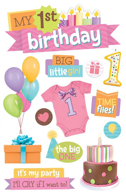 Paper House Productions 3D Stickers: 1st Birthday - Girl