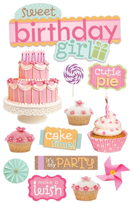 Paper House Productions 3D Stickers: Sweet Birthday Girl