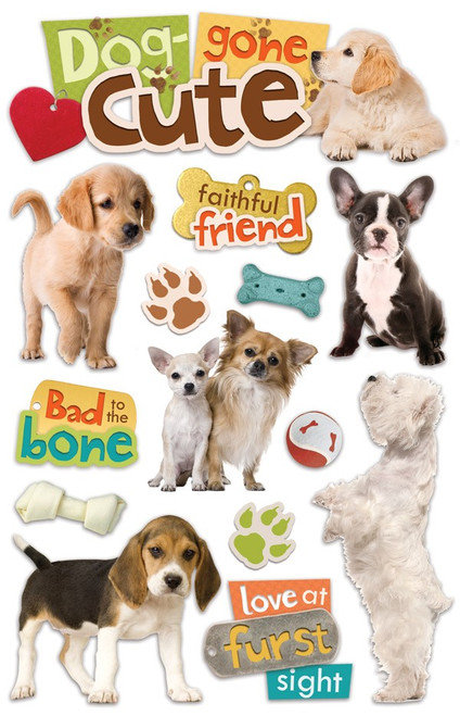Paper House Productions 3D Stickers: Dog-gone Cute